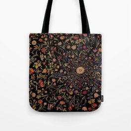 Medieval Flowers on Black Tote Bag
