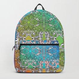 Rainbow Heraldry doodle mandala repeating pattern Backpack
