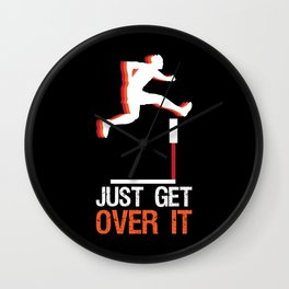 Track & Field Hurdle Gift: Just Get Over It I Running Wall Clock