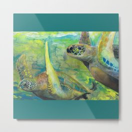 "Giant Sea Turtle Watercolor Fine Art Print Reproduction Painting ""The Lovers"" Metal Print"