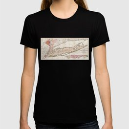 1842 Map of Long Island, New York T-shirt