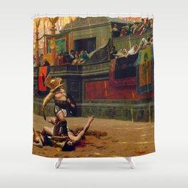 12,000pixel-500dpi - Jean-Leon Gerome - Pollice Verso - Digital Remastered Edition Shower Curtain