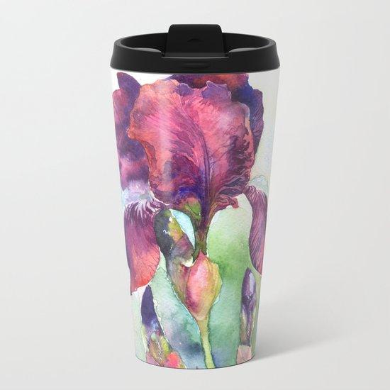 Watercolor iris flowers Metal Travel Mug
