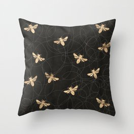Busy Bees (Black) Throw Pillow
