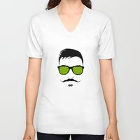 mustache V-neck T-shirts featuring Mustache by FalcaoLucas