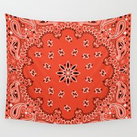 tupac Wall Tapestries featuring red bandana by Marta Olga Klara