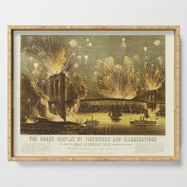 Currier & Ives Grand Display of Fireworks Serving Tray