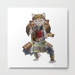 Steampunk samurai cat with 2 pistols Metal Print