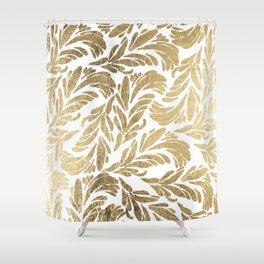 Elegant white chic faux gold foil floral damask pattern Shower Curtain