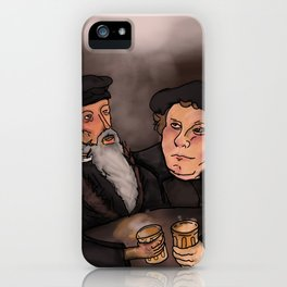 John Calvin and Martin Luther, Pub Theology iPhone Case
