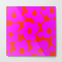 Pink Retro Flowers Orange Red Background #decor #society6 #buyart Metal Print