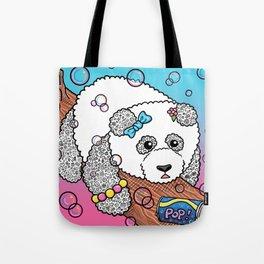 Cute Panda Bubble Pop Doodle pink version Tote Bag
