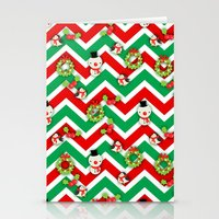 cartoons Stationery Cards featuring Festive Christmas Cartoons on Chevron Pattern by Kirsten Star