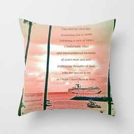 """""""Inspiration At Catalina"""" with poem: My Own Day Throw Pillow"""