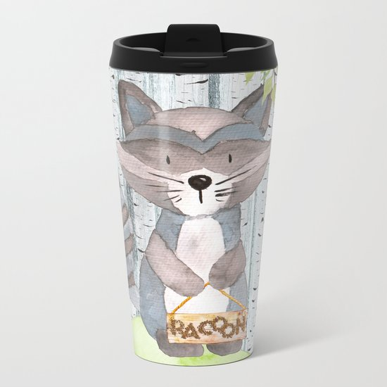 The adorable Racoon- Woodland Friends- Watercolor Illustration Metal Travel Mug