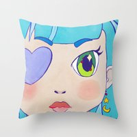 magical girl Throw Pillows featuring Magical Girl by Chanael Burat