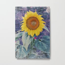 Tournesol Carte Postale - Sunflower Postcard Metal Print