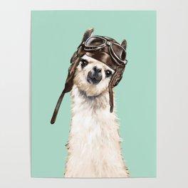 Cool Pilot Llama Poster