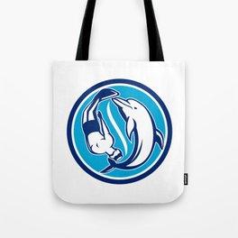 Free Diver and Dolphin Yin Yang Circle Retro Tote Bag