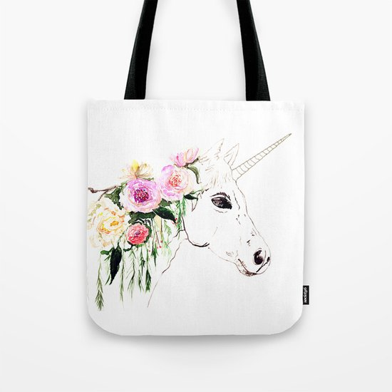 Unicorn, flowers, watercolor Tote Bag