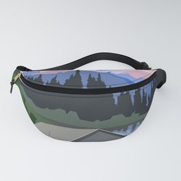 Living in countryside near lake and mountains Fanny Pack
