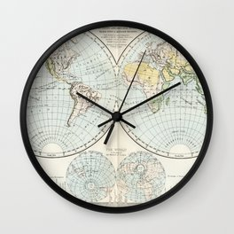 Old Map of The Globe Wall Clock