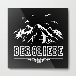 Bergliebe Retro - Wandern Bergsteiger Design Motiv Metal Print