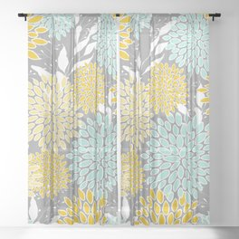 Floral Prints and Leaves, Gray, Yellow and Aqua Sheer Curtain