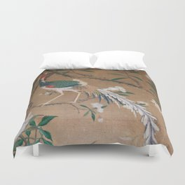 Antique French Chinoiserie in Tan & White Duvet Cover