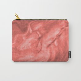 Pantone Living Coral Flowing Haze Pearlescent Fluid Art Illustration Carry-All Pouch