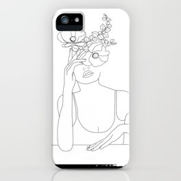 Minimal Line Art Woman with Flowers II iPhone Case