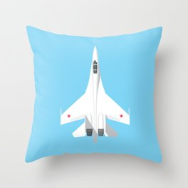 Su-27 Flanker Fighter Jet Aircraft - Sky Throw Pillow