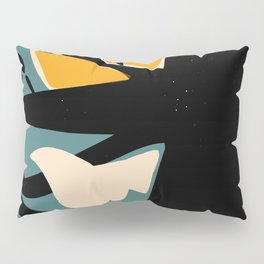 White and red birds on a black tree Pillow Sham