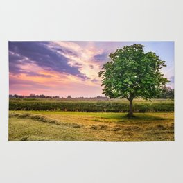 Green Tree and Sunset Sky Rug