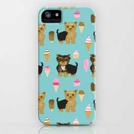 Yorkie ice cream gifts yorkshire terrier dog lover pet friendly patterns minty iPhone Case