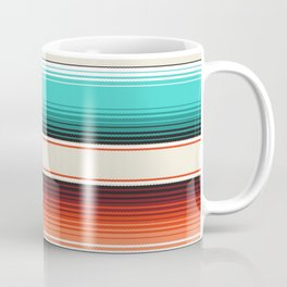 Navajo White, Turquoise and Burnt Orange Southwest Serape Blanket Stripes Coffee Mug