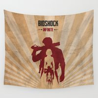 bioshock Wall Tapestries featuring Bioshock Infinite - Booker and Elizabeth by Art of Peach