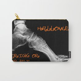 skeleton foot for halloween - scarry,candy, orange,black, trick or treat, fun, jack o lantern, bones Carry-All Pouch
