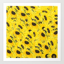 sunflower pattern 2018 1 Art Print