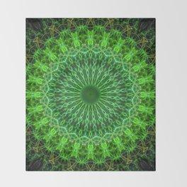 Detailed mandala in green color Throw Blanket