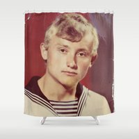 soviet Shower Curtains featuring The Soviet seaman. by Mikhail Zhirnov