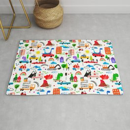 Dinosaur City Watercolor Transportation Pattern Rug