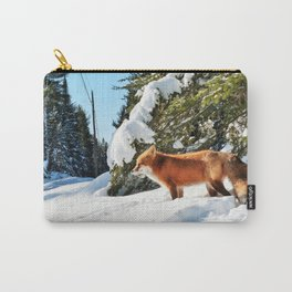 Happy Red Fox in Fresh Snow in Algonquin Carry-All Pouch