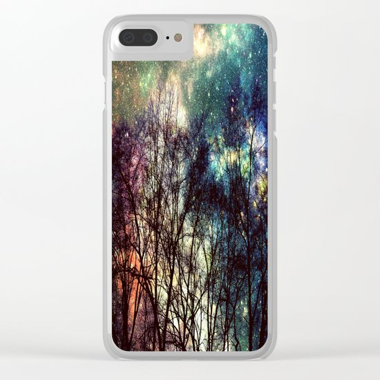 Black Trees Deeply Colorful Space Clear iPhone Case