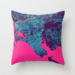 Karachi Neon City Map, Karachi Minimalist City Map Art Print Throw Pillow