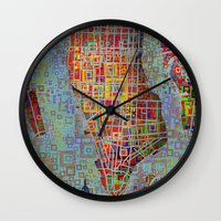 new york map Wall Clocks featuring New York map by Bekim ART