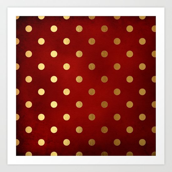 Adorable pattern for girls- gold dots on red backround Art Print