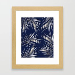 White Gold Palm Leaves on Navy Blue Framed Art Print