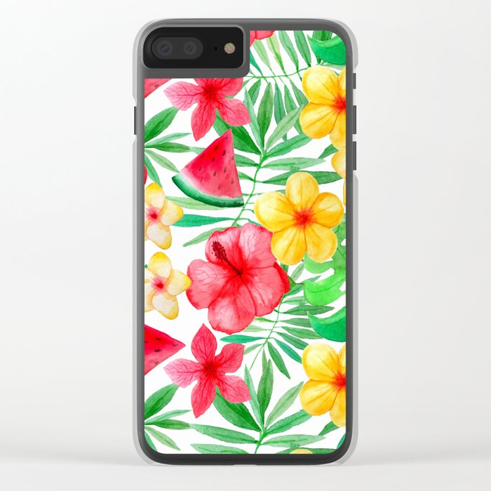 Happy Summer Life- Aloha Flowers and Melon - Pattern on #Society6 Clear iPhone Case