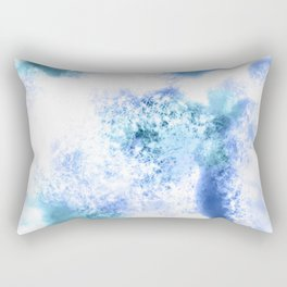 Bright Blue Marble Crystal Watercolor Rectangular Pillow